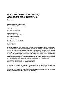 SOCIOLOGÍA DE LA INFANCIA, ADOLESCENCIA Y JUVENTUD