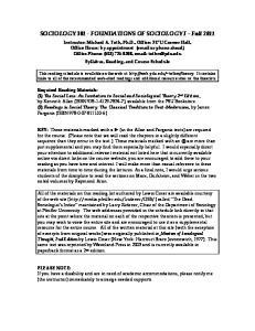 SOCIOLOGY FOUNDATIONS OF SOCIOLOGY I Fall 2011