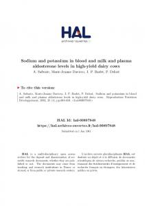 Sodium and potassium in blood and milk and plasma aldosterone levels in high-yield dairy cows