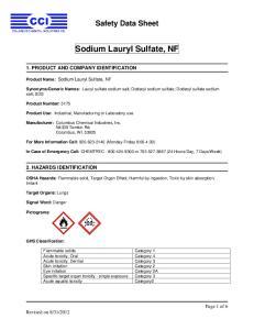 Sodium Lauryl Sulfate, NF