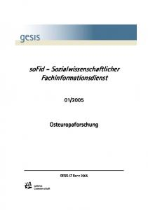 sofid - Sozialwissenschaftlicher Fachinformationsdienst