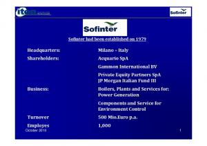 Sofinter had been established on 1979