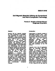 Soft Magnetic Materials Utilizing via Conventional And Warm Compaction Technology