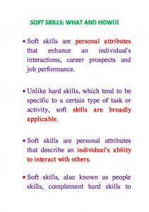 SOFT SKILLS: WHAT AND HOW!!!