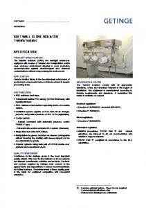 SOFT WALL GLOVE ISOLATOR Transfer isolator SPECIFICATION