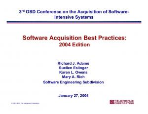Software Acquisition Best Practices: 2004 Edition