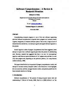 Software Comprehension A Review & Research Direction
