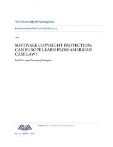 SOFTWARE COPYRIGHT PROTECTION: CAN EUROPE LEARN FROM AMERICAN CASE LAW?