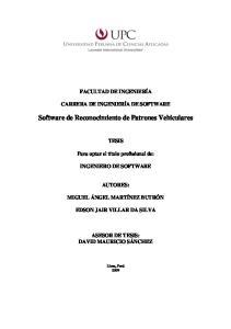 Software de Reconocimiento de Patrones Vehiculares