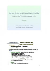 Software Design, Modelling and Analysis in UML