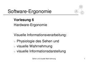 Software-Ergonomie. Vorlesung 6 Hardware-Ergonomie. Visuelle Informationsverarbeitung: M C