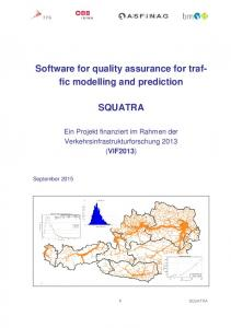Software for quality assurance for traffic modelling and prediction SQUATRA