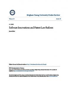 Software Innovations and Patent Law Reform