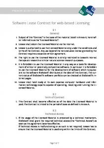 Software Lease Contract for web-based Licensing