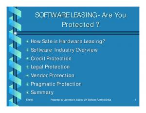 SOFTWARE LEASING - Are You Protected?