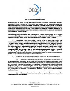 SOFTWARE LICENSE AGREEMENT