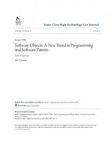 Software Objects: A New Trend in Programming and Software Patents