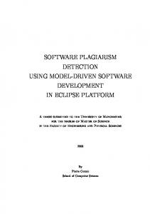 SOFTWARE PLAGIARISM DETECTION USING MODEL-DRIVEN SOFTWARE DEVELOPMENT IN ECLIPSE PLATFORM