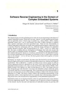 Software Reverse Engineering in the Domain of Complex Embedded Systems