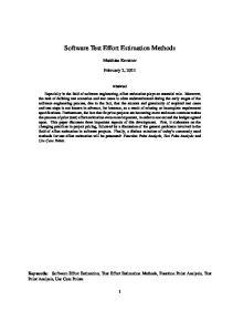 Software Test Effort Estimation Methods