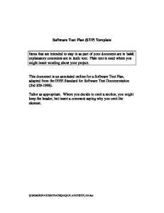 Software Test Plan (STP) Template