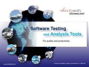 Software Testing and Analysis Tools
