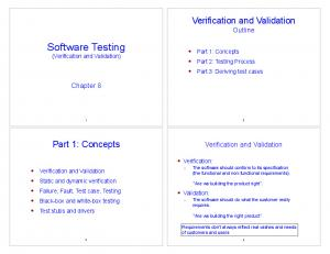 Software Testing (Verification and Validation)