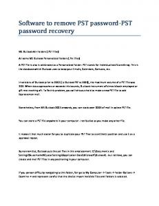 Software to remove PST password-pst password recovery