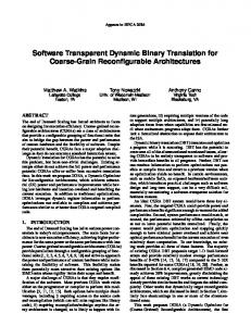 Software Transparent Dynamic Binary Translation for Coarse-Grain Reconfigurable Architectures