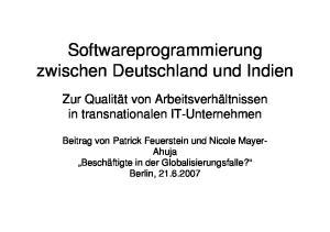 Softwareprogrammierung zwischen Deutschland und Indien