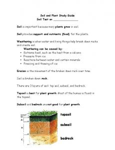 Soil and Plant Study Guide Soil Test on. Soil provides support and nutrients (food) for the plants