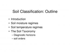 Soil Classification: Outline
