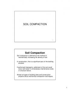SOIL COMPACTION. Soil Compaction