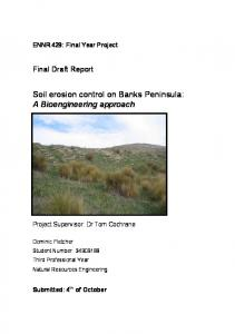 Soil erosion control on Banks Peninsula: A Bioengineering approach