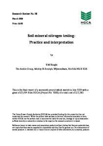 Soil mineral nitrogen testing: Practice and interpretation