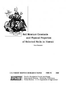 Soil Moisture Constants and Physical Properties of Selected Soils in Hawaii
