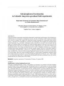 Soil phosphorus fractionation in Icelandic long-term grassland field experiments