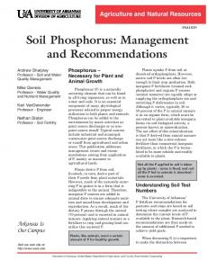 Soil Phosphorus: Management and Recommendations