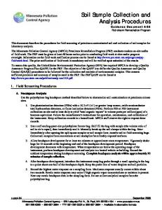 Soil Sample Collection and Analysis Procedures Guidance Document 4-04