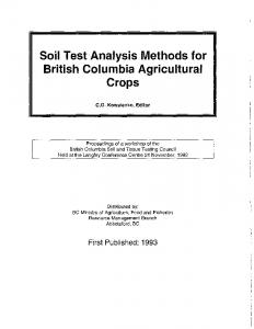 Soil Test Analysis Methods for British Columbia Agricultural Crops