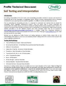 Soil Testing and Interpretation