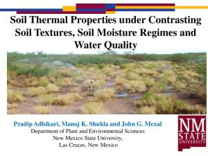 Soil Thermal Properties under Contrasting Soil Textures, Soil Moisture Regimes and Water Quality