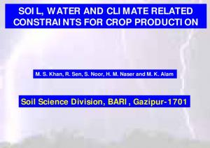 SOIL, WATER AND CLIMATE RELATED CONSTRAINTS FOR CROP PRODUCTION