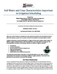 Soil Water and Crop Characteristics Important to Irrigation Scheduling