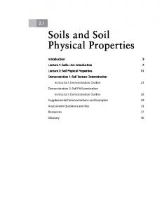 Soils and Soil Physical Properties
