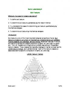 Soils Laboratory 2. Soil Texture