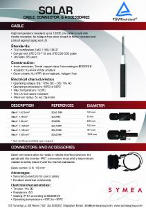 SOLAR CABLE REFERENCES DESCRIPTION DIAMETER CONNECTORS AND ACCESSORIES CABLE, CONNECTOR, & ACCESSORIES