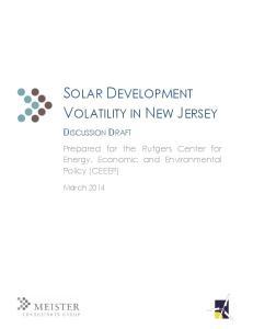 SOLAR DEVELOPMENT VOLATILITY IN NEW JERSEY