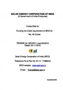 SOLAR ENERGY CORPORATION OF INDIA (A Government of India Enterprise)