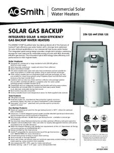 SOLAR GAS BACKUP INTEGRATED SOLAR & HIGH EFFICIENCY GAS BACKUP WATER HEATERS